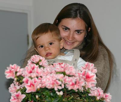 Olga, Maxim, and flowers