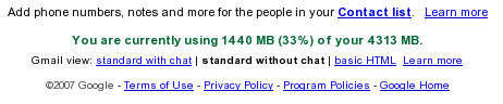 Gmail space stats
