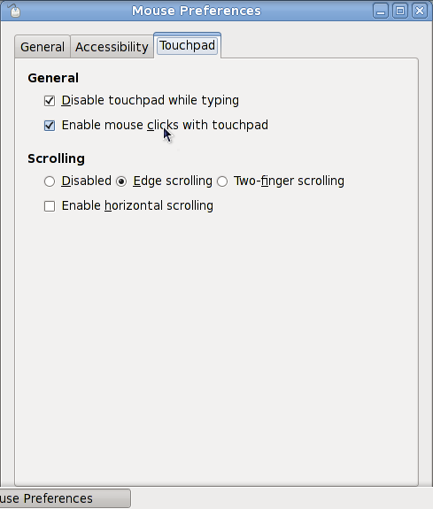 Gnome : System / Preferences / Mouse / Touchpad