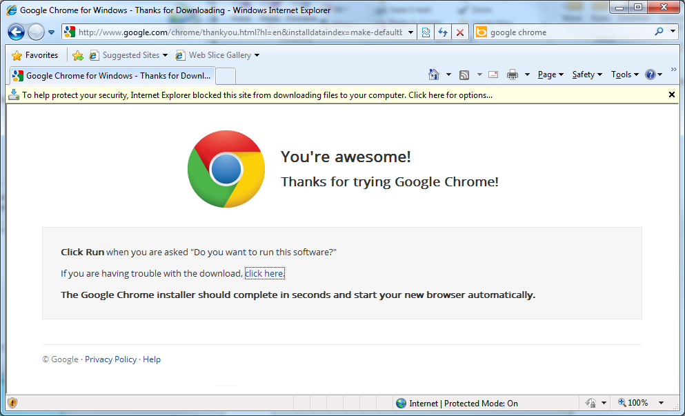 Does Microsoft Internet Explorer Really Hate Google Chrome