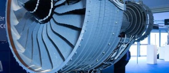 Half-size Rolls Royce Trent 1000 replica built with Lego