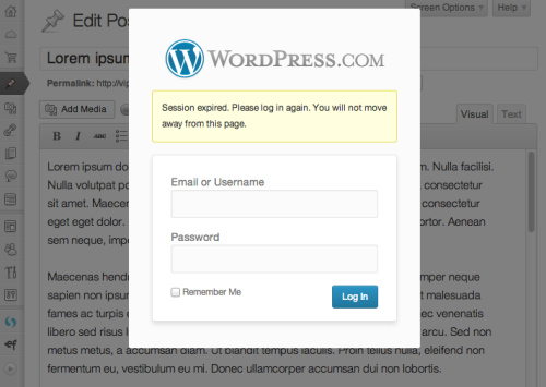 WordPress logout notification