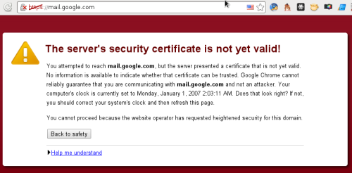 Gmail SSL certificate error