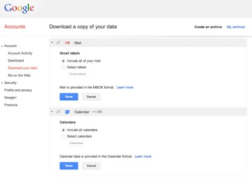 gmail data export