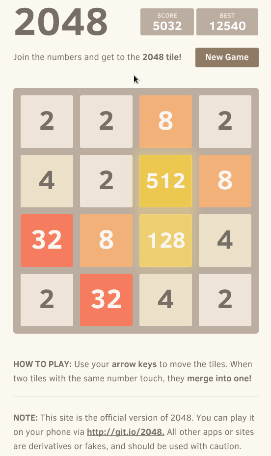 2048 has to be one of the most addictive games ever! It's like a mix of tetris, 15 and sudoku – all in one. There is also the adult edition (NSFW).