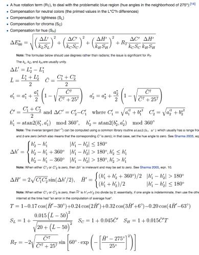 CIEDE2000 math