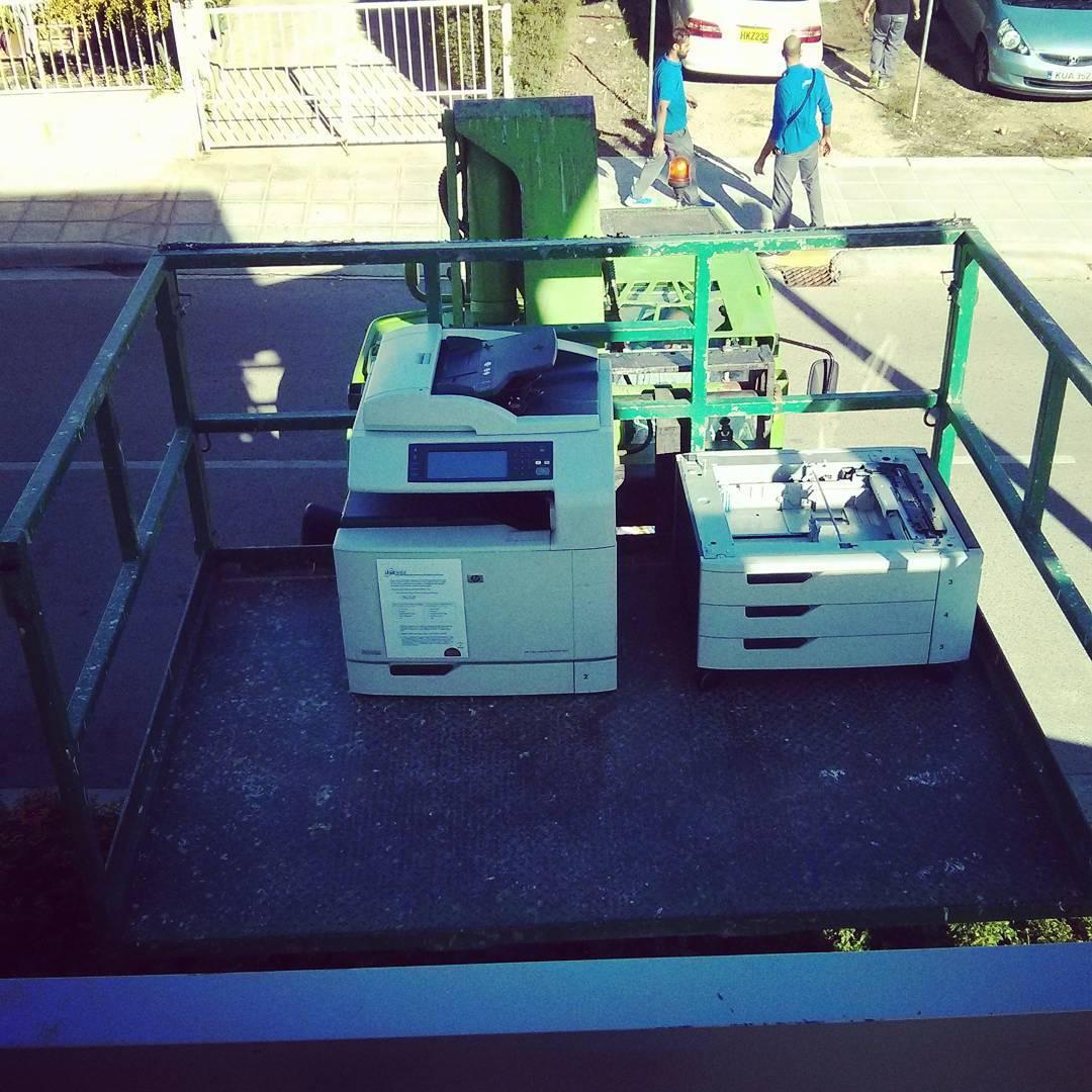 Forklifting the printer