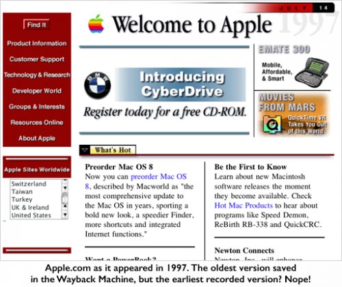Screenshot of Apple.com website